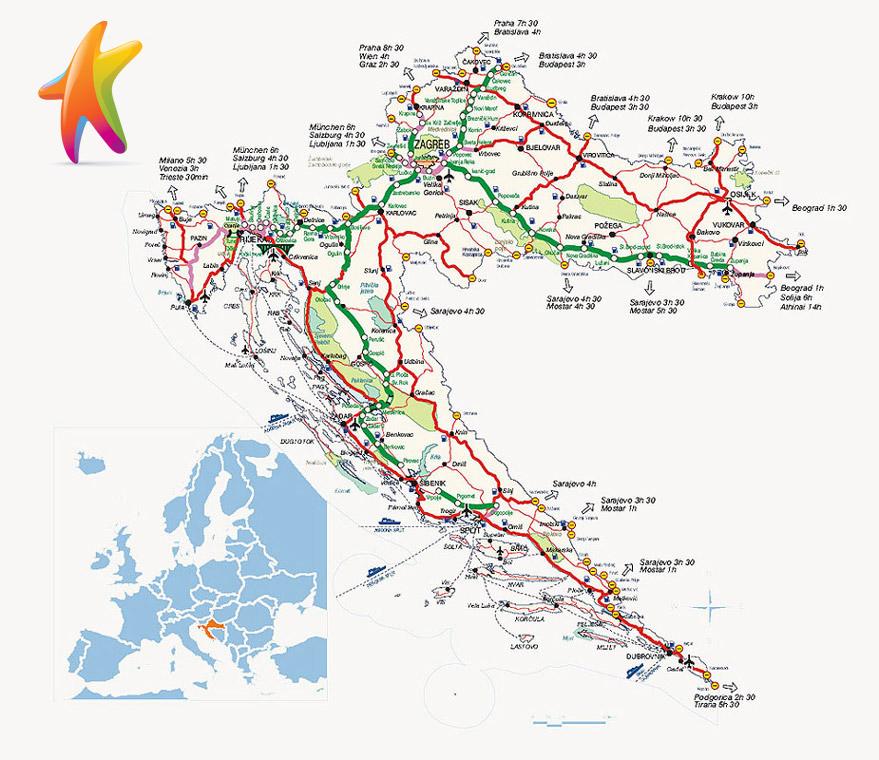 Cartina Stradale Baska Croazia.Croazia Indicazioni Stradali Voli Aerei Orari Treni Traghetti